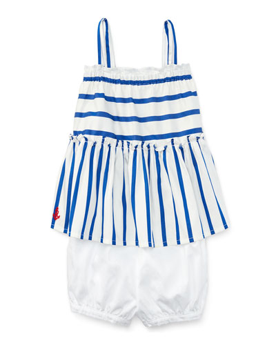 Smocked Striped Poplin Top w/ Bloomers, Blue/White, Size 9-24 Months