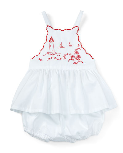 Embroidered Cross-Back Batiste Top w/ Bloomers, White, Size 9-24 Months