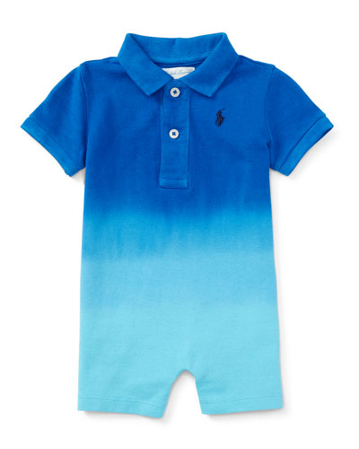 Basic Mesh Dip-Dyed Polo Shortall, Pacific Royal, Size 3-24 Months
