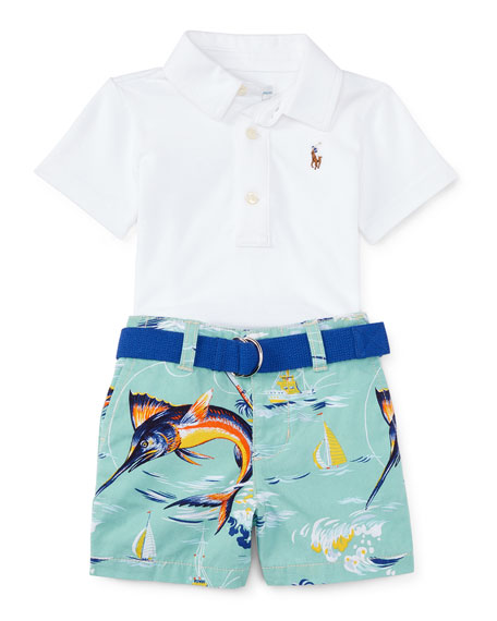 Ralph Lauren Oxford Mesh Polo Shirt w/ Marlin