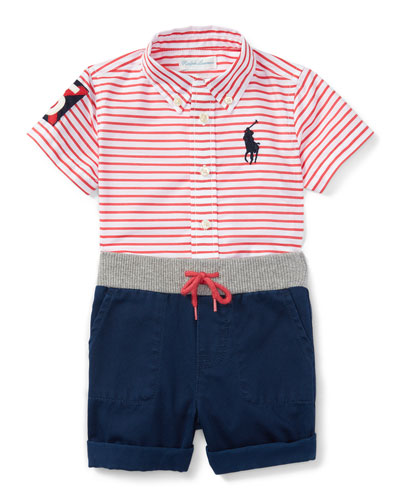Striped Poplin Shirt w/ Twill Shorts, Red/White, Size 9-24 Months