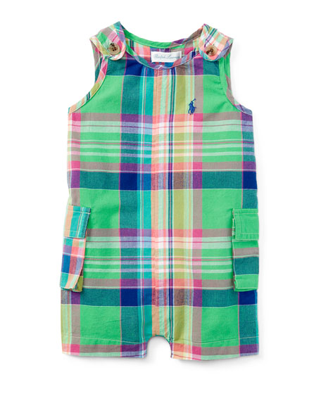Ralph Lauren Childrenswear Madras Plaid Cotton-Blend Overalls,