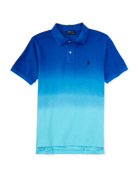 Dip-Dyed Basic Mesh Polo Shirt, Pacific Royal, Size 2T-4T