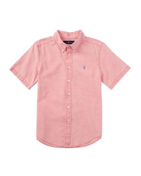 Short-Sleeve Linen-Blend Shirt, Island Red, Size 5-7