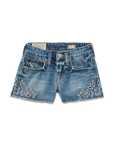 Denim Cutoff Eyelet Shorts, Blue, Size 2T-4T