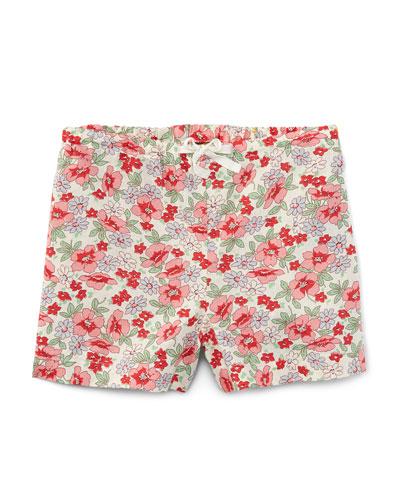 Floral Linen-Blend Drawstring Shorts, Pink, Size 5-6X