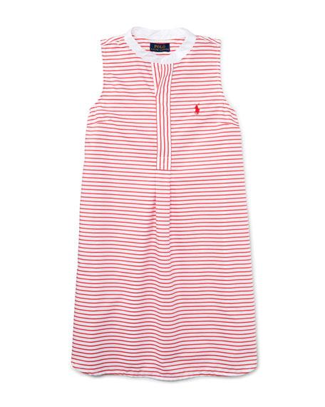 Ralph Lauren ChildrenswearSleeveless Striped Henley Shirtdress,