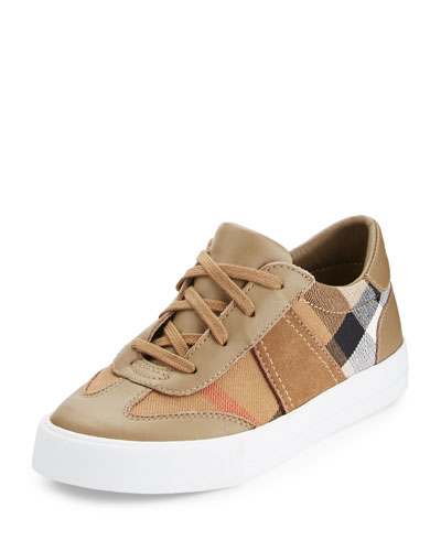 Longsley Check Leather-Trim Sneaker, Mink Gray, Youth