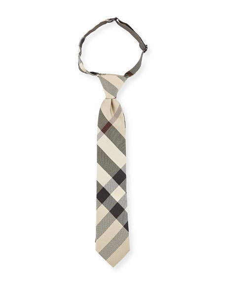Burberry Kids' Manston Silk Check Tie, New Classic