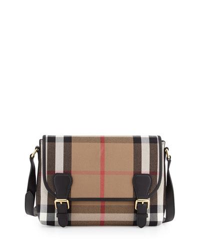 Girls' Check Canvas Satchel Bag, Black