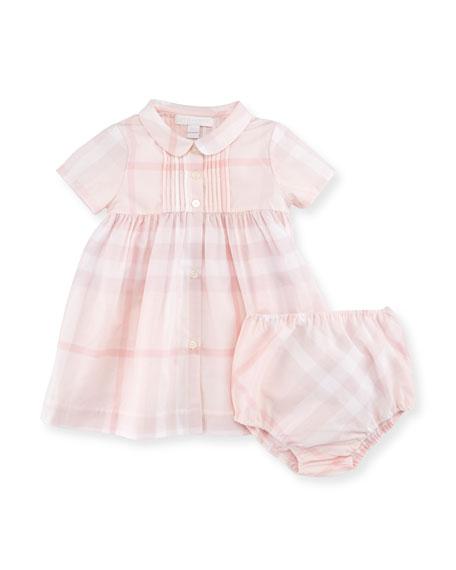 Burberry Gabriela Short-Sleeve Smocked Check Dress w/ Bloomers,