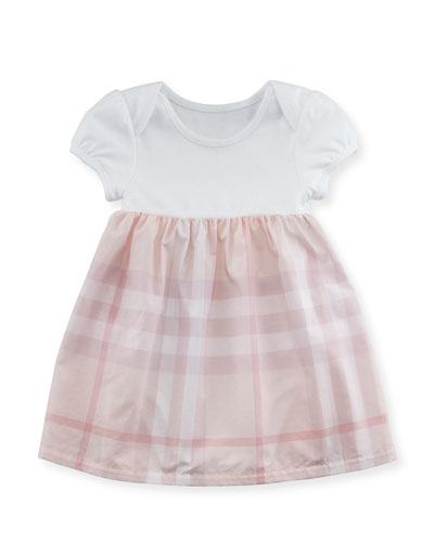 Cherrylina Cap-Sleeve Play Dress, White, Size 3-24 Months