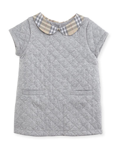 Taryn Collared Quilted Shift Dress, Gray Melange, Size 3-24 Months