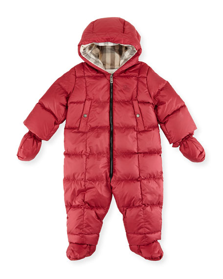 Burberry Skylar Quilted Down Snowsuit, Peony Rose, Size
