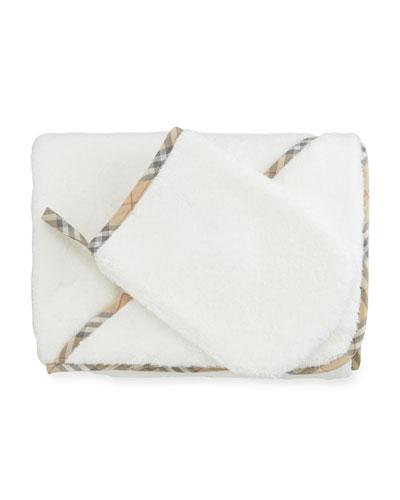 Hooded Towel w/ Wash Mitt, White