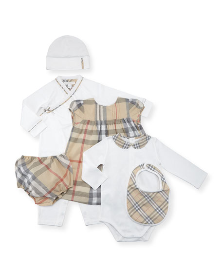 Burberry Girls' Maxime Check Layette Set, White, Size
