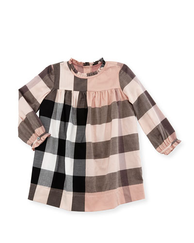 Pippie Long-Sleeve Yoked Shift Dress, Antique Pink, Size 6M-3
