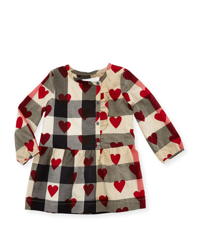 Alaya Heart & Check Button-Front Dress, Size 6M-3