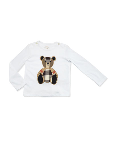 Long-Sleeve Teddy Bear Jersey Tee, White/Tan, Size 6M-3