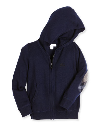 Hary Hooded Check-Patch Sweatshirt, Navy, Size 4-14