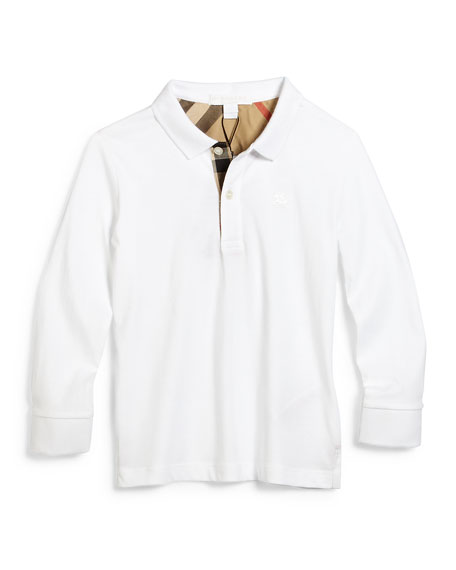 Burberry Long-Sleeve Mini PPM Jersey Polo Shirt, White,