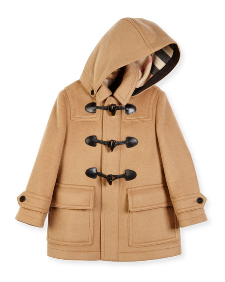 Burberry Burwood Hooded Wool Toggle Coat, New Camel,