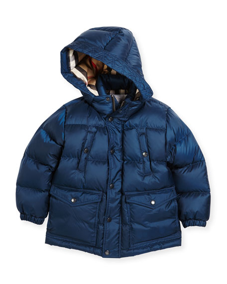 Burberry Barnie Check-Lined Puffer Jacket, Blue, Size 4-14