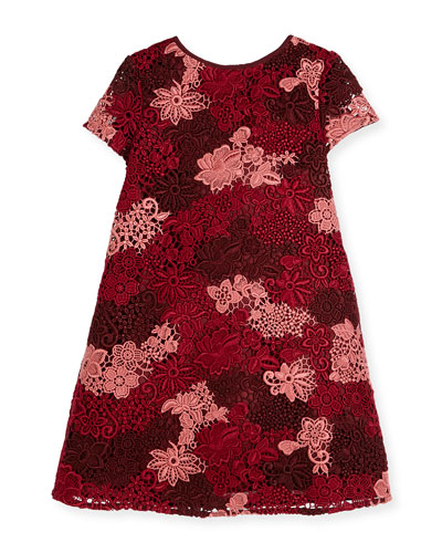 Lian Floral Lace Shift Dress, Deep Claret, Size 4-14