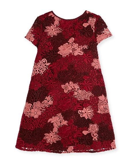 Burberry Lian Floral Lace Shift Dress, Deep Claret,