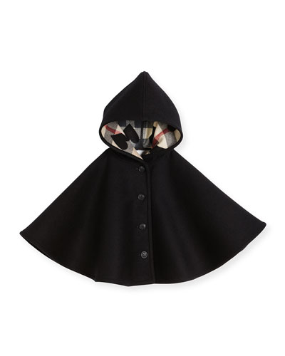 Rosa Hooded Button-Front Wool Cape, Black, Size M-L