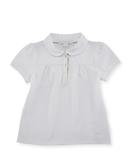 Burberry Karley Pique Polo Shirt, White, Size 4-14