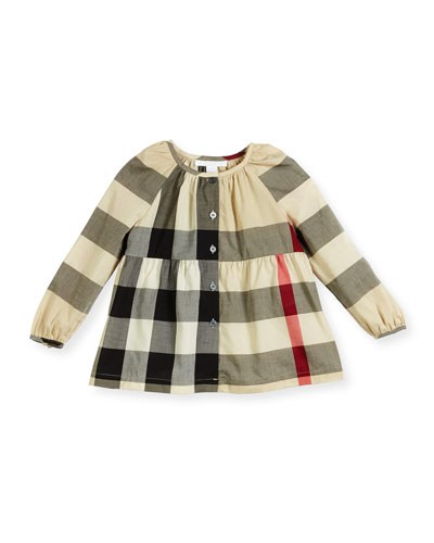 Karmal Smocked Check Top, New Classic, Size 4-14