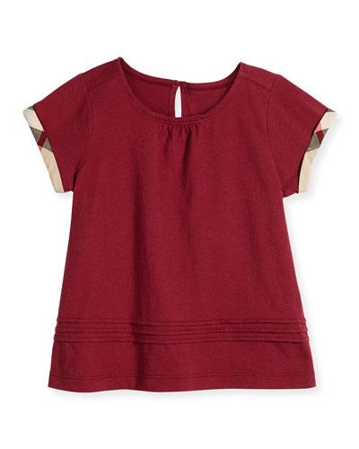 Gisselle Pintucked Jersey Tee, Dark Plum Pink, Size 4-14
