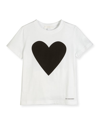 Love Heart Jersey Tee, White/Black, Size 4-14