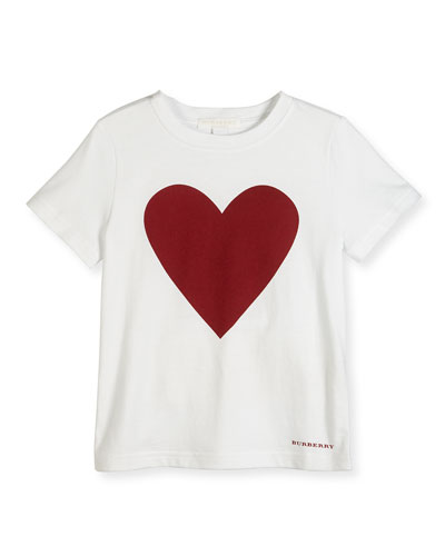 Love Heart Jersey Tee, White/Red, Size 4-14