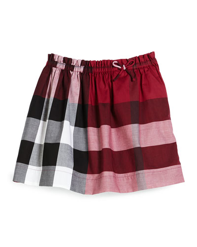 Kendi Check Skirt, Plum Pink, Girls' Sizes 4-14
