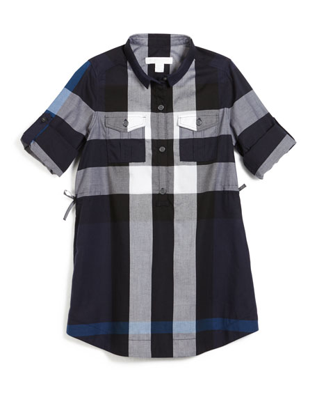 Burberry Darielle Long-Sleeve Check Shirtdress, Navy, Size 4-14