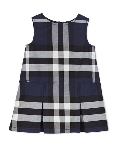 Dawny Sleeveless Pleated Check Dress, Navy, Size 4-14