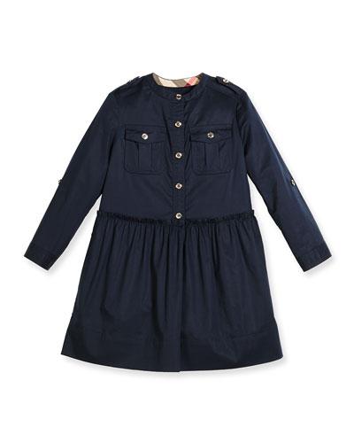 Tammy Long-Sleeve Smocked Poplin Dress, Dark Pewter Blue, Size 4-14