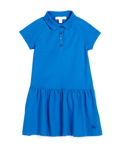 Cali Smocked Raglan Polo Dress, Bright Hydrangea, Size 4-14