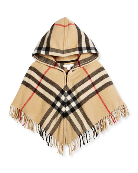 Burberry Victoria Hooded Check Cape, New Classic, Size