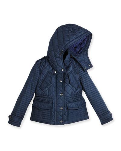 Nealsbrooke Hooded Quilted Jacket, Ink Blue, Size 4-14