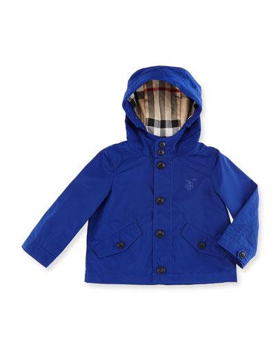 Arlie Hooded Rain Jacket, Bright Lapis, Size 6M-3