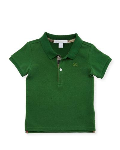 Palmer Short-Sleeve Pique Cotton Polo Shirt, Bright Fern Green, Size 6M-3