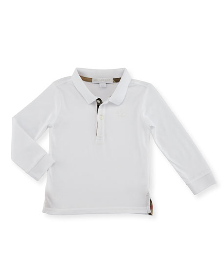 Burberry Palmer Long-Sleeve Pique Cotton Polo Shirt, White,