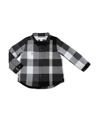 Mini Camber Check Shirt, Tan, Black, Size 6M-3
