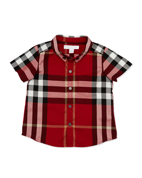 Burberry Fred Short-Sleeve Check Shirt, Parade Red, Size