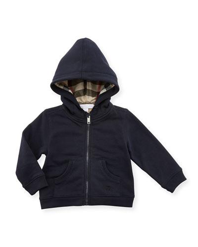 Pearce Hooded Fleece-Lined Sweater, Dark Navy, Size 6M-3