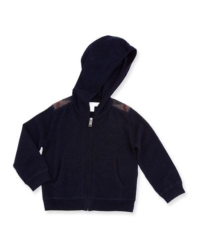Harris Hooded Check-Trim Wool Sweatshirt, Navy, 6M-3