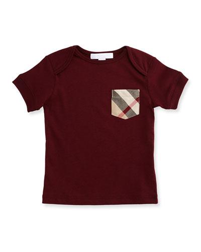 Callum Short-Sleeve Jersey Tee, Burgundy Red, Size 6M-3
